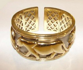 14 K White/yellow Gold Jaguar Relief Cuff Bracelet