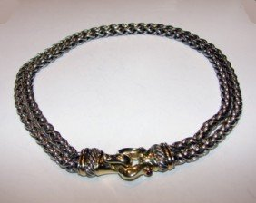 189: Silver with 14K gold buckle necklace, D. Yurman.