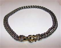 189 Silver with 14K gold buckle necklace D Yurman