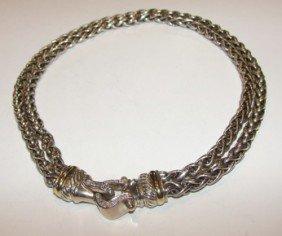 190: Silver 18K  gold diamond  buckle necklace. Yurman.