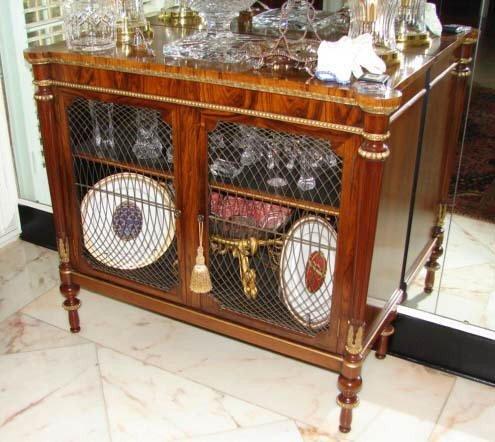 1: English Regency style rosewood dwarf cabinet. 20th C