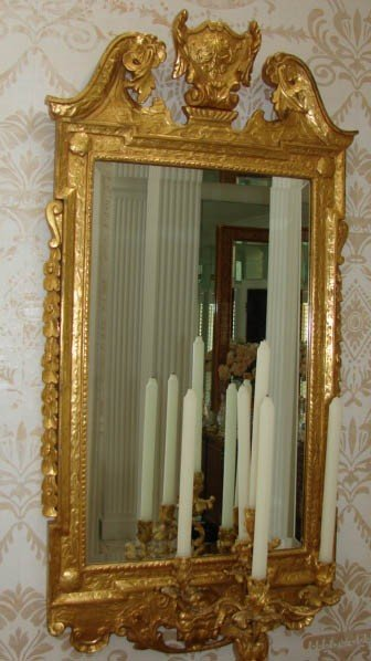 6: Pair Georgian style gilt carved console mirrors.