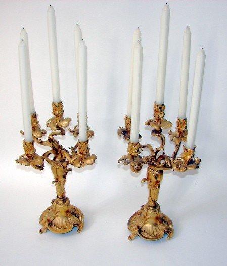 9: Pair (2) fine dore bronze candelabra, French, 19th