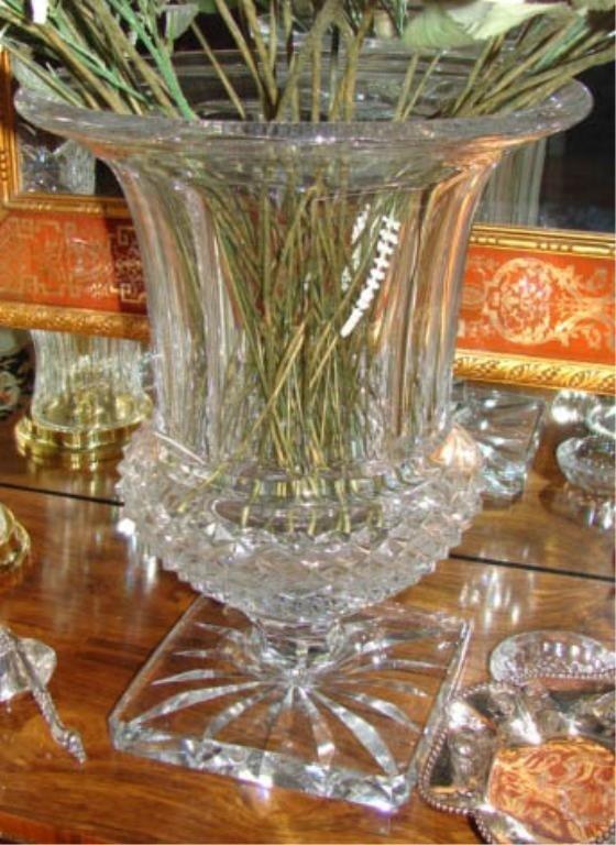 """11: Cut crystal vase, Waterford type. H - 16""""."""