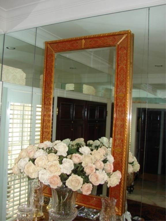 12: Venetian style enameled console mirror.