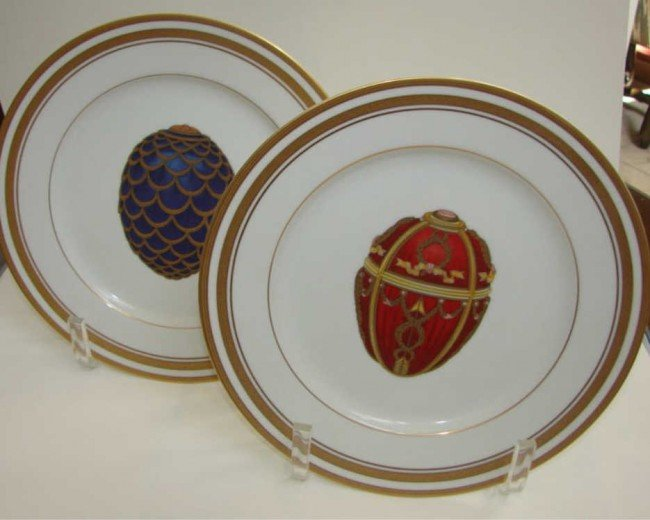 13: Pair (2) Faberge Imperial porcelain cabinet plates.