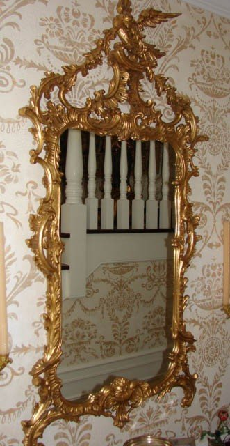 16: Georgian style console gilt carved mirror.