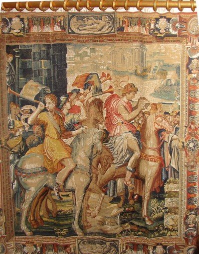 22: Printed fabric tapestry in the Flemish style. Rena