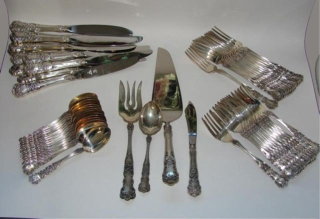 "9: 54 pc. Gorham sterling flatware service. ""Buttercup"""