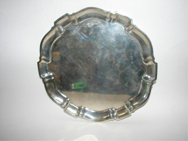 "19: Poole sterling silver tray, ""Chippendale""."