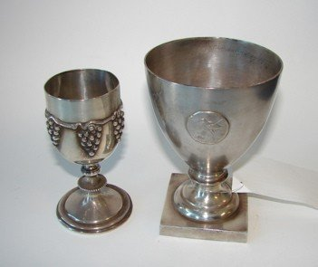 21: Group of two sterling silver goblets.