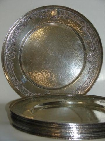 24: Set of 12 Gorham Sterling silver plates. 1919.