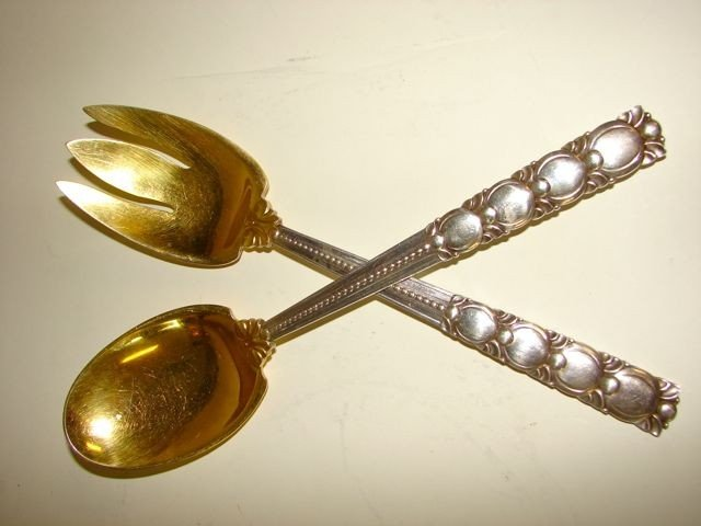1: Tiffany Vermeil Sterling Salad Service, Two Piece.