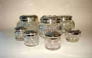 7: Group of (7) Sterling Silver/Crystal Dresser Jars.