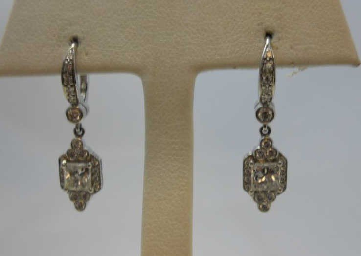 66: Platinum & Diamond Dangle Earrings by Crypell.