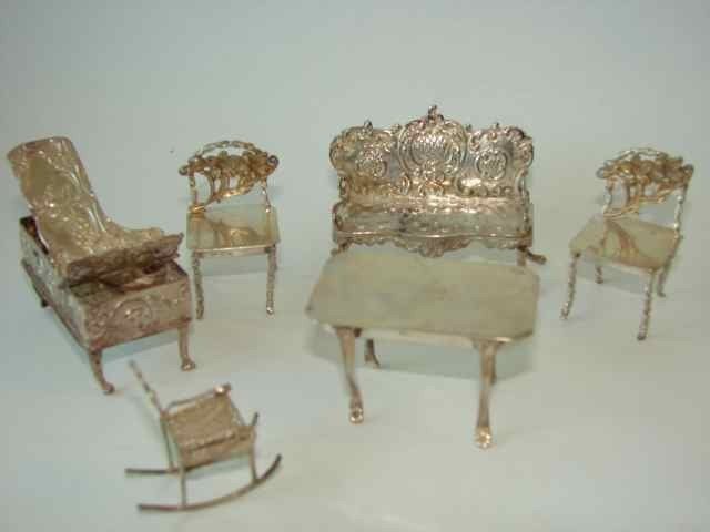 6: Six Assorted Silver Miniature Furniture Items.