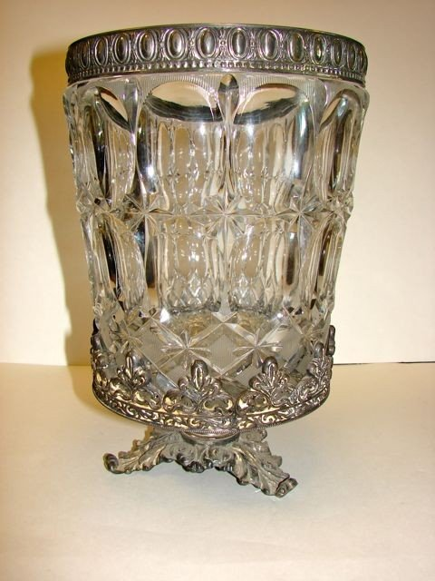 14: Italian Cut Crystal Wine Cooler, Plated Mounts.