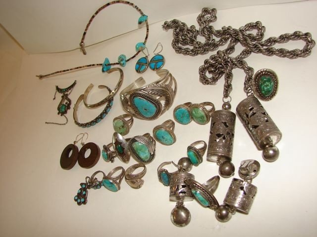 16: Lot of Assorted American tribal sterling jewelry.