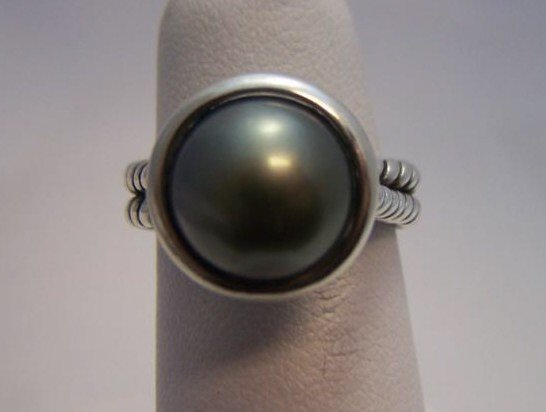 21: David Yurman Sterling Silver Black Pearl Ring