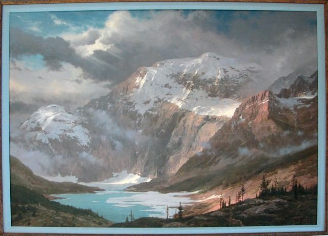 "30: Thomas Kinkade Oil Painting ""Glacier Basin"", 1988."