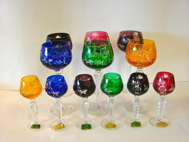 115: Set of 12 German Colored Crystal Stem Wines.