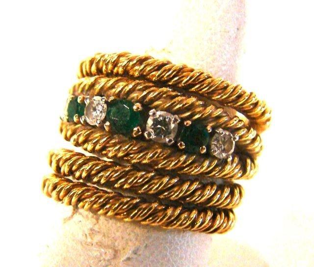 141: Four ring Set 18K Yellow Gold, Emeralds/Diamonds.