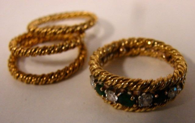 141: Four ring Set 18K Yellow Gold, Emeralds/Diamonds. - 2