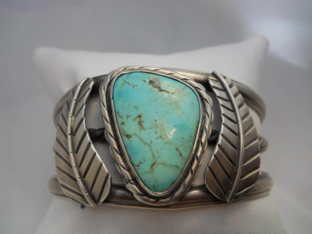 13: Sterling Silver Cuff Bracelet w/Turquoise Stone.