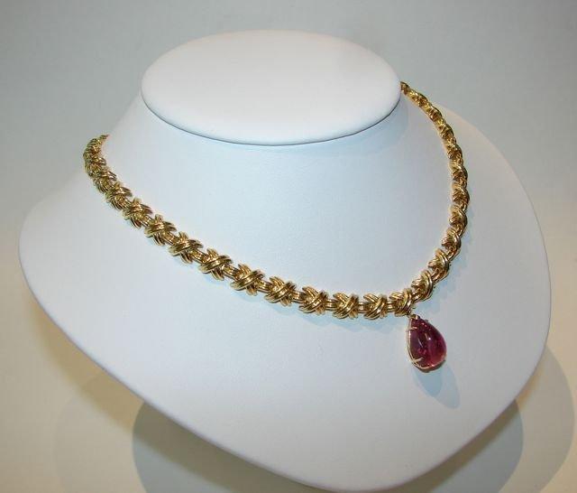 81: Tiffany & Co. 18K Y/Gold Necklace w/ Tourmaline.