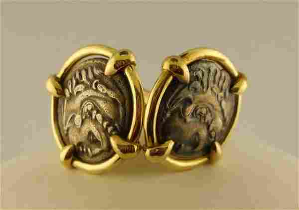 Pair (2) 14K Yellow Gold/ Coin Cuff Links.