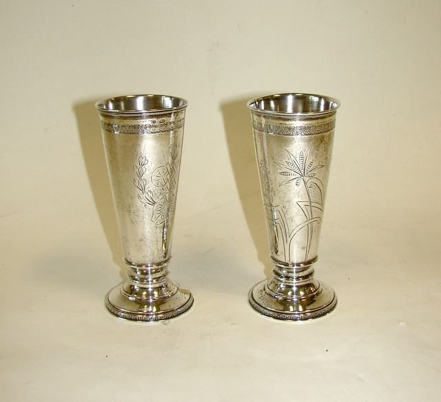 21: Pair (2) Russian Silver Kiddish Cups.