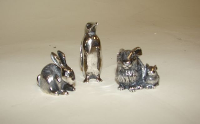 22: Three (3) Sterling Silver Animal Figurines.