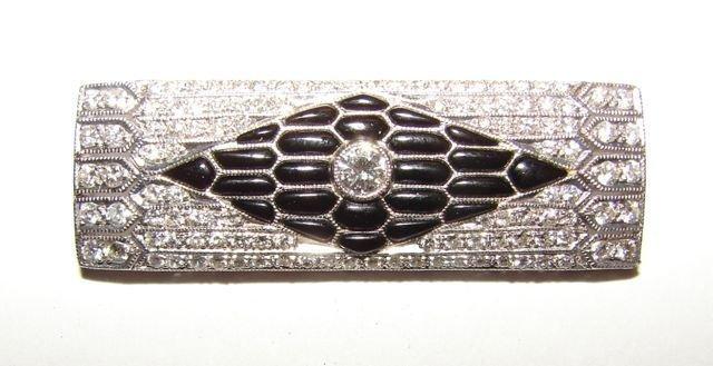 4: 18K White Gold/Diamond & Onyx Pin.