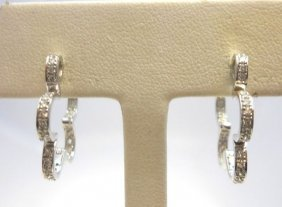 Pair (2) Of 18K White Gold Flower Shaped Earrings.
