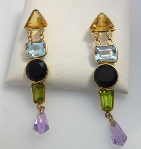 7: Pair (2) of 14K Yellow Gold Dangle Earrings.