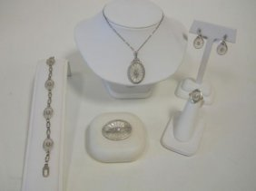 Five Piece 14K  White Gold And Rock Crystal Set.