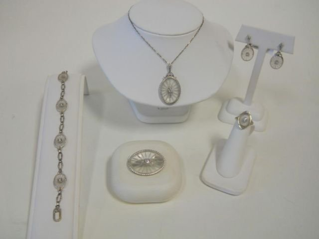 8: Five Piece 14K  White Gold and Rock Crystal Set.