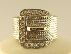 9: 14K White Gold Buckle  Ladies Ring.