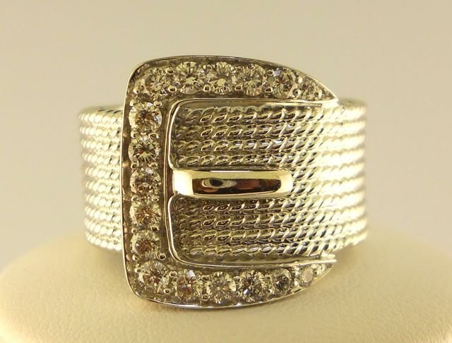 9: 14K White Gold Buckle  Ladies Ring.