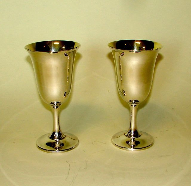 Pair (2) Wallace Sterling Silver Goblets.