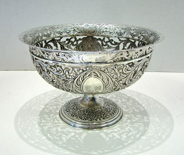 Wyler, NY Sterling Silver Reticulated Compote.