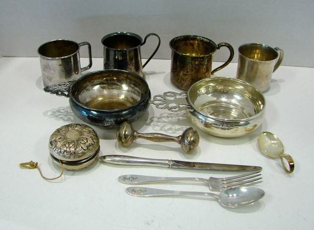 13 Assorted Sterling & Plated Child's Articles.