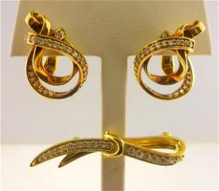Gucci 18K Yellow Gold Earrings and Pin Set.