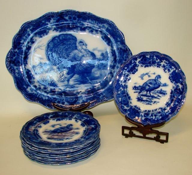 English Flow Blue Porcelain 10 Plates & Platter.