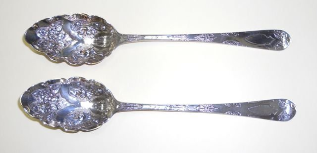 Two (2) English Sterling Berry Spoons, 1781, 1831.