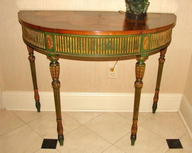 Sheraton Style Demi-Lune Console Table.
