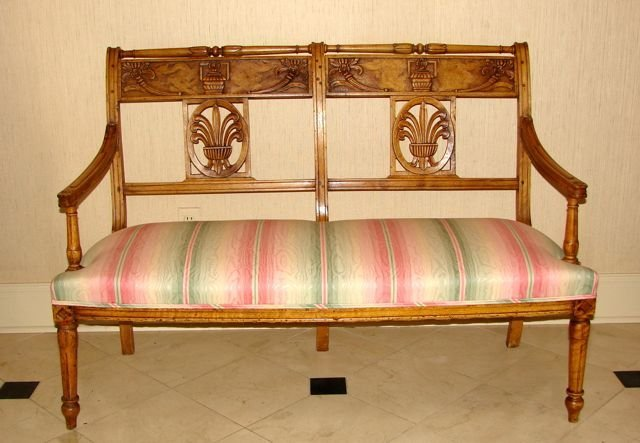 French Provincial Fruit Wood Settee.