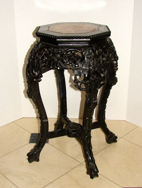 Chinese Carved Rosewood Taboret Stand.