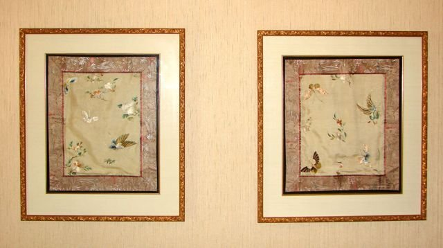 Pair (2) of Chinese Embroidered Silk Fragments.