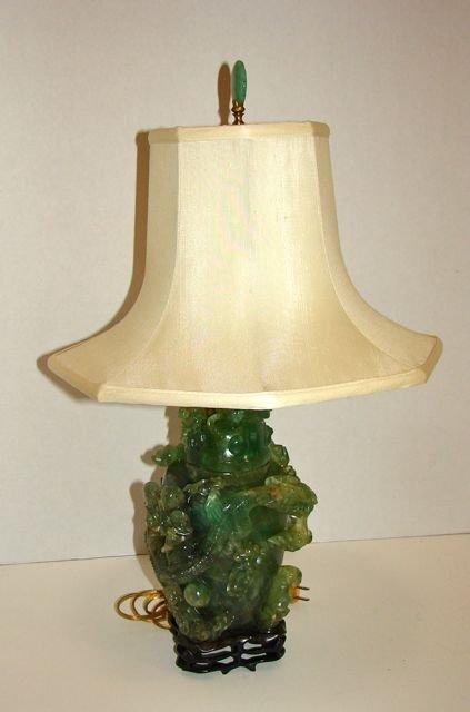 Carved Green Quartz Urn Formed Table Lamp.